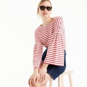 J. CREW Bell Sleeve Stripe Tee in Red/White